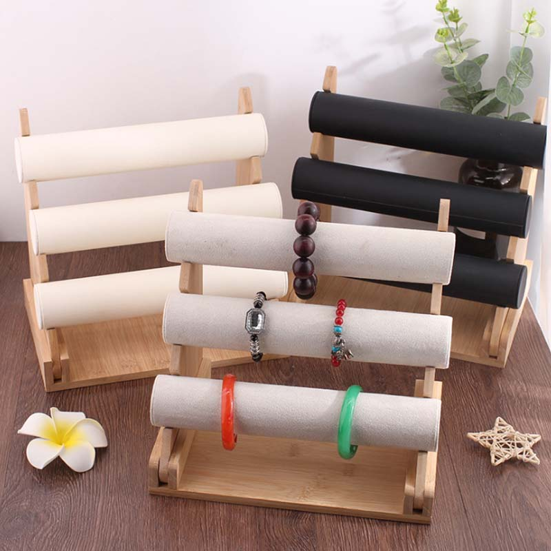 Wholesale 3 Tier Velvet/PU Wood Leather Watch Bracelet Bangle Necklace Jewelry Organizer Storage Holder Display Stand Rack