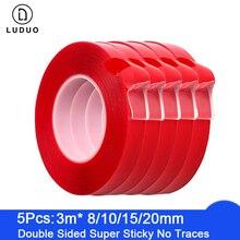 LUDUO 5 pièces 3M rouge Double face ruban auto adhésif voiture autocollants acrylique Transparent pas de Traces intérieur Super fixe 8/10/15/20mm