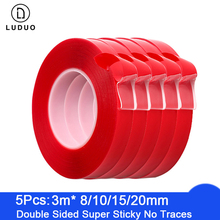 LUDUO 5pcs 3M Red Double Sided Self Adhesive Tape Car Stickers Acrylic Transparent No Traces Interior Super Fixed 8/10/15/20mm