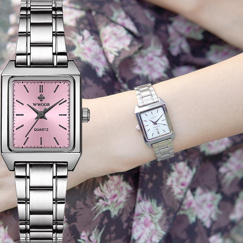 Relógio de Pulso Presente para Mulher Relógio Feminino Quadrado Wwoor Marca Superior Luxo Rosa Pequeno Moda Elegante Xfcs 2020