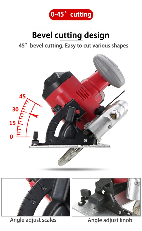 21V Cirkelzaag Power Tools met Laser, 165mm Blade 4000mAh multifunctionele Lithium Ion Flip Saw Circulaire Cutter Saw - 4