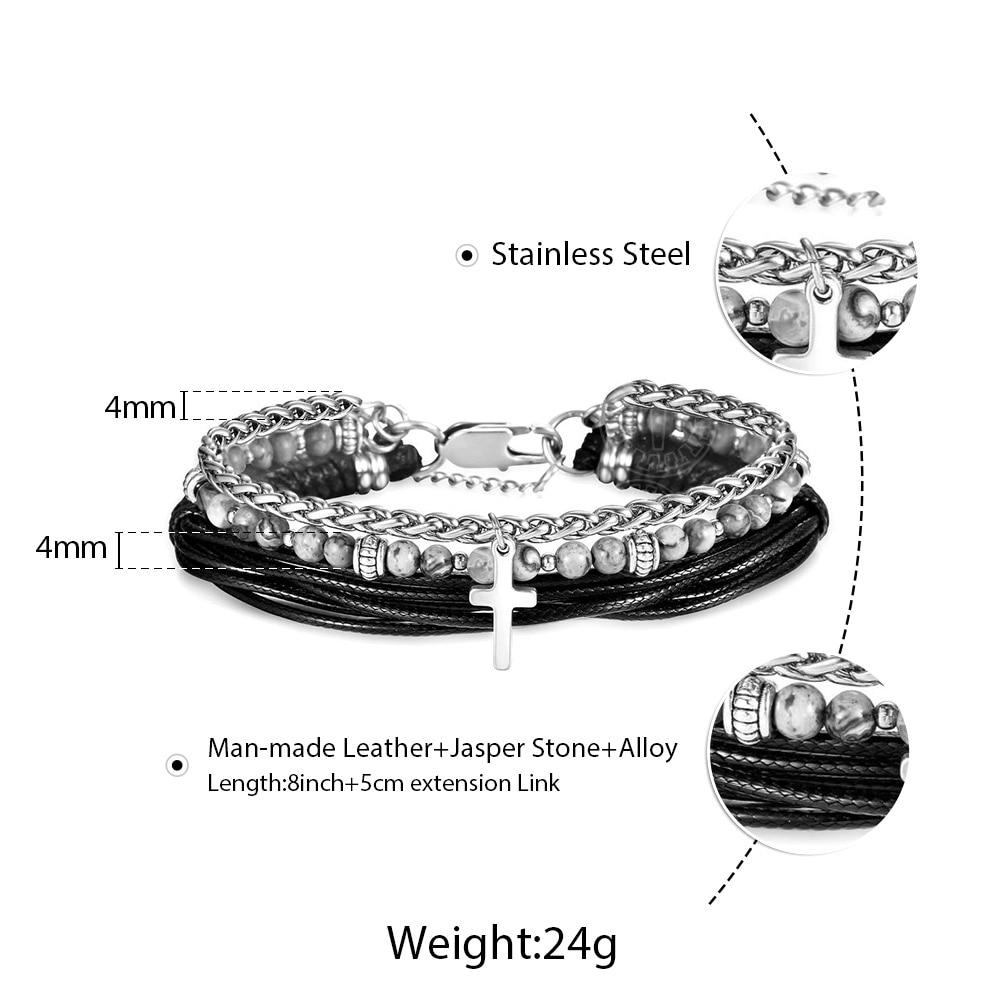 Fashion Multi-layers Bracelet for Men Ocean Stones Stainless Steel Rope Link Chain Cross Charm Man-made Leather Bracelet DDLB177