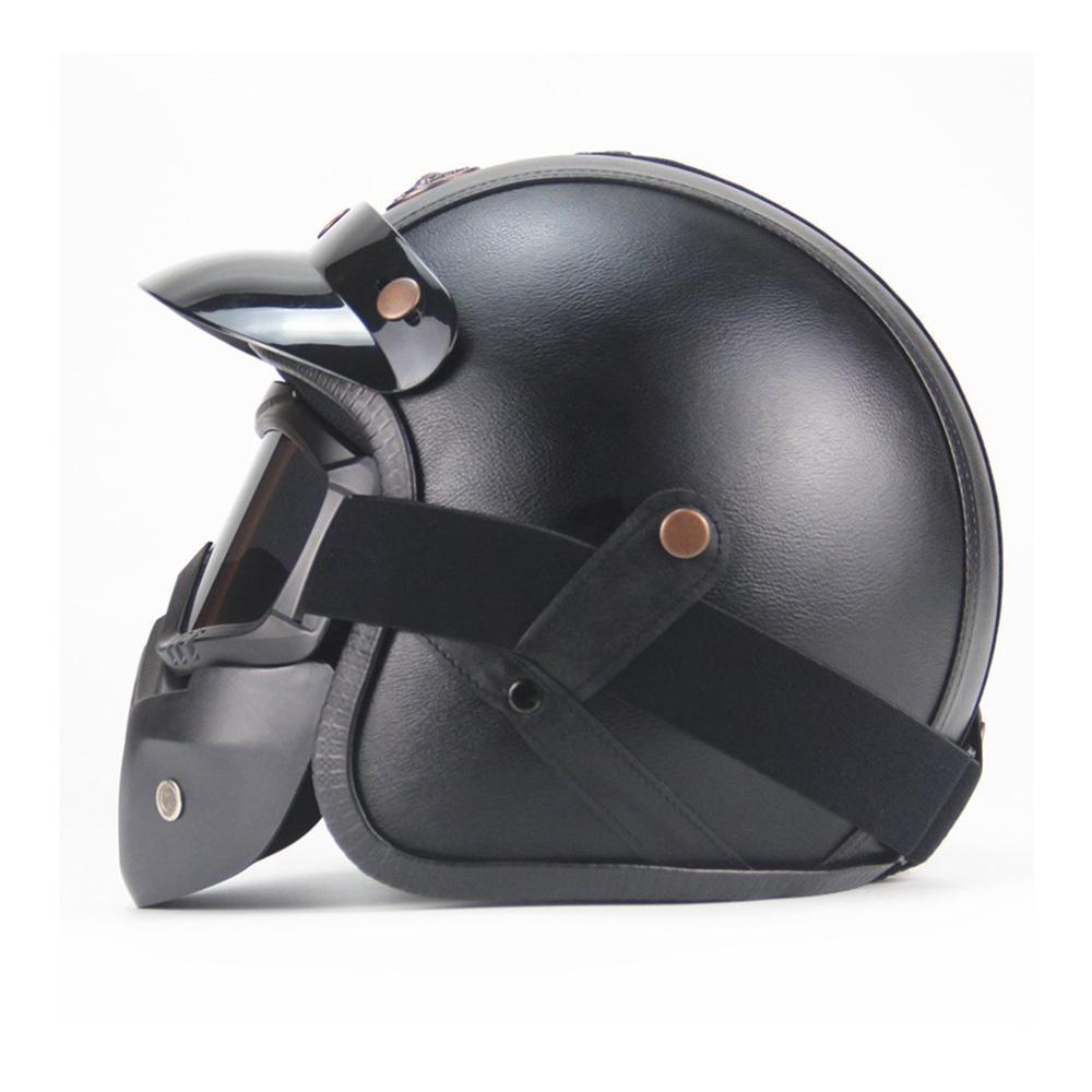 Vintage lunettes détachables et bouche filtre rétro masque demi ouvert visage moto casques 3/4 cuir casque