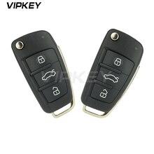 Remotekey 2pcs 8P0837220D 3 button 433 mhz ID48 chip HU66 blade 8P0 837 220 D for Audi A3 TT 2006 - 2013 Flip remote key free shipping hu66 flip key blade for vw audi remote key 20pcs lot
