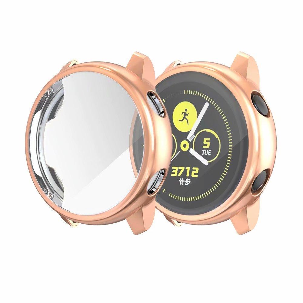 Ультратонкий Мягкий чехол для samsung Galaxy Watch Active, прозрачный защитный чехол из ТПУ для Galaxy Active, 40 мм, полностью силиконовый чехол - Цвет: Розовое золото