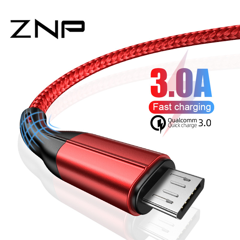 ZNP 3A USB Micro Cable For Samsung S7 Xiaomi Redmi 5 6 Pro Data Cord Fast Charging USB