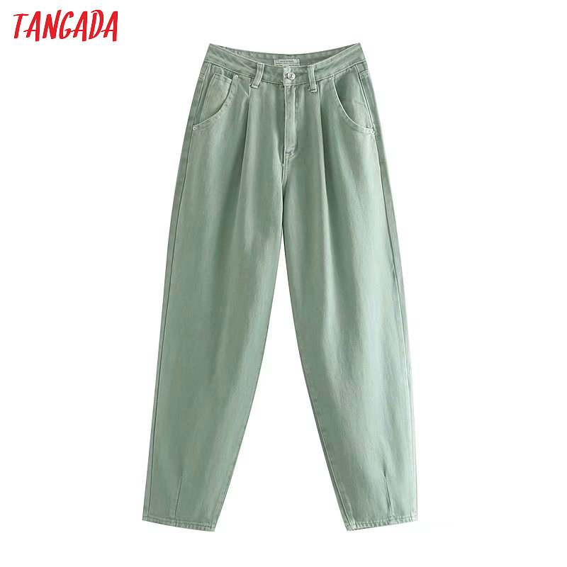 Tangada fashion women loose mom jeans long trousers pockets zipper loose streetwear female pants 4M58 2