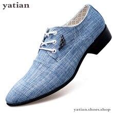Erkek elbise ayakkabı deri düğün tuval Casual Flats resmi erkek mokasen ayakkabıları Chaussures Hommes A0 06