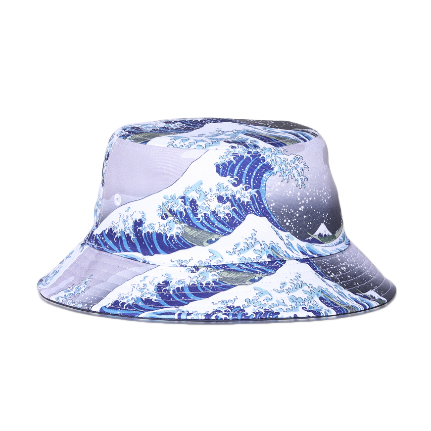 Japanese Painters Hokusai Style Wave Bucket Hat for Men Women Double-sided Wear Cotton