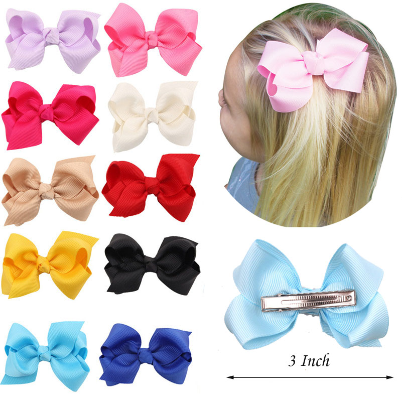 1PC 3 Inch Solid Kids Girls Ribbon Hair Bow Clips With Hairpins Boutique Hairclips Hair Accessories Handmade Princess Headwear