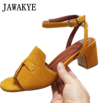 Candy Color KidSuede Sandals Shoes for Women Open Toe Metal lock Decor Summer Block Heel Comfort Leather Sandals Shoes