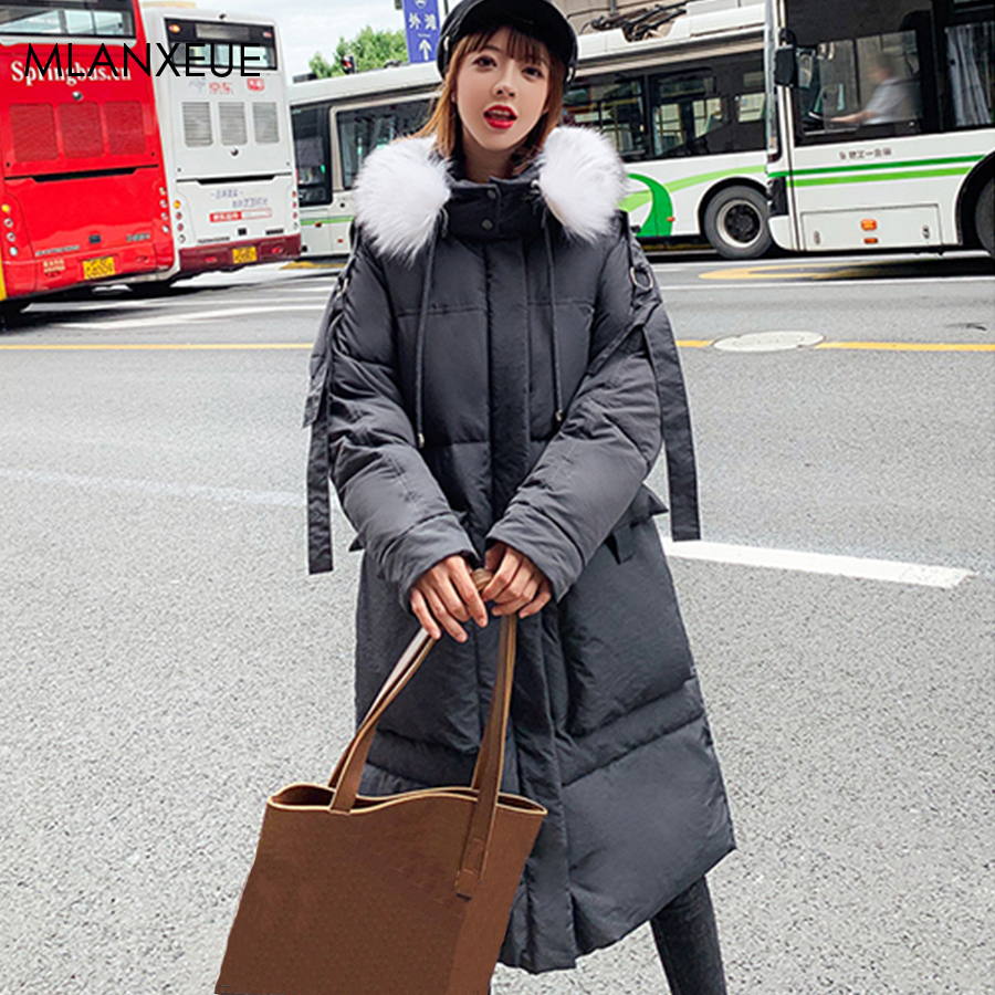 Elegant Down Coats Women Winter Casual Hooded Pocket Zipper Long Down Jacket Female Plus Size Solid Thicken Fashion Coat Korean