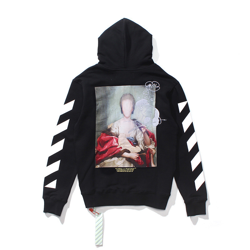 Europe And America Popular Brand Unfinished Meng La Lisa Embroidered Figure Zipper Hoodie Coat Teenager Couples