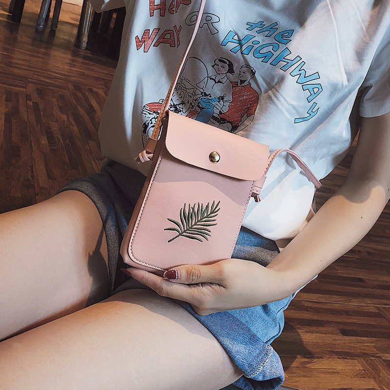 Bags For Women 2019 Plant Embroidery Simple Retro Bag Female Shulder Bags Messenger Bags Mobile Phone Bag