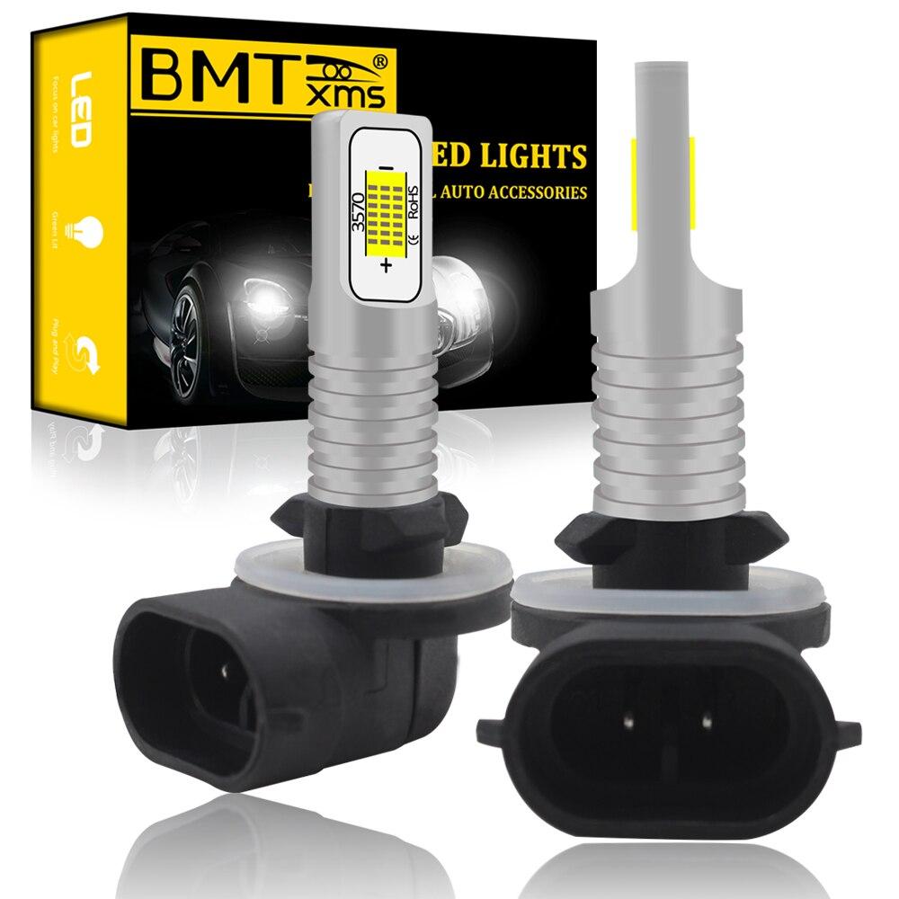 BMTxms 2 шт. H27 881 светодиодный автомобильный противотуманный светильник с передней головкой для вождения, ходовая лампа H27W2 H27W/2 H27W Canbus для автом...