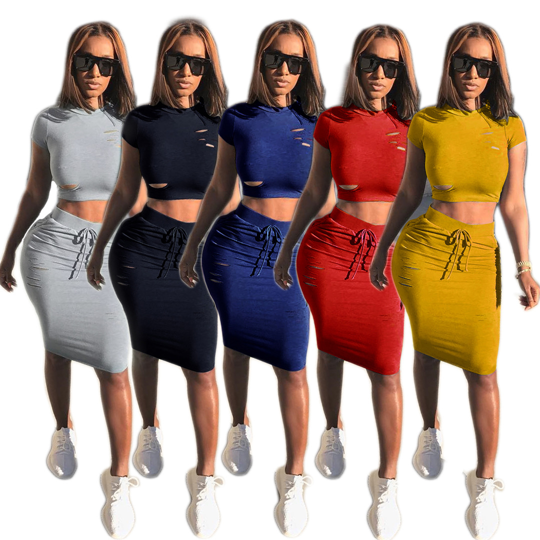 Skirt And Crop Top Suit Set 2019 Women Tracksuit Two-piece Sport Style Outfit Jogging Sweatshirt Fitness Lounge Sportwear