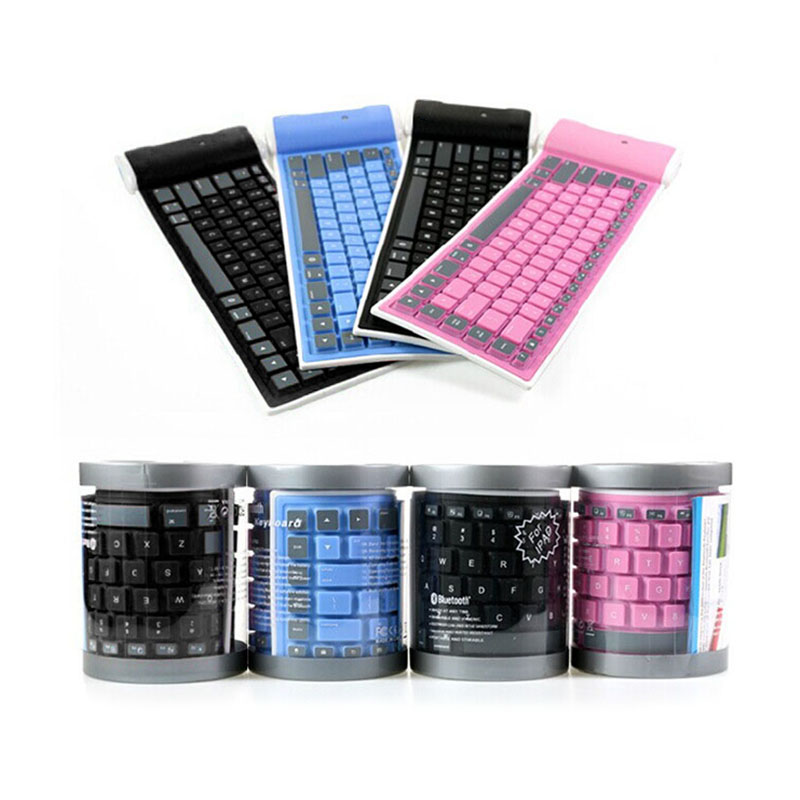 Mini Folding Keyboard Bluetooth Foldable Wireless Keypad Silent 87key Keypads For Windows Android For Ios Phone For Tablet