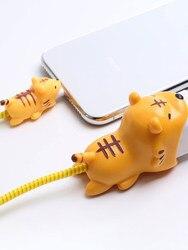 Cartoon Cute Cable Protector linia danych przewód Protector kabel ochronny Winder pokrywa dla iPhone USB kabel ładujący zestaw ładowarki