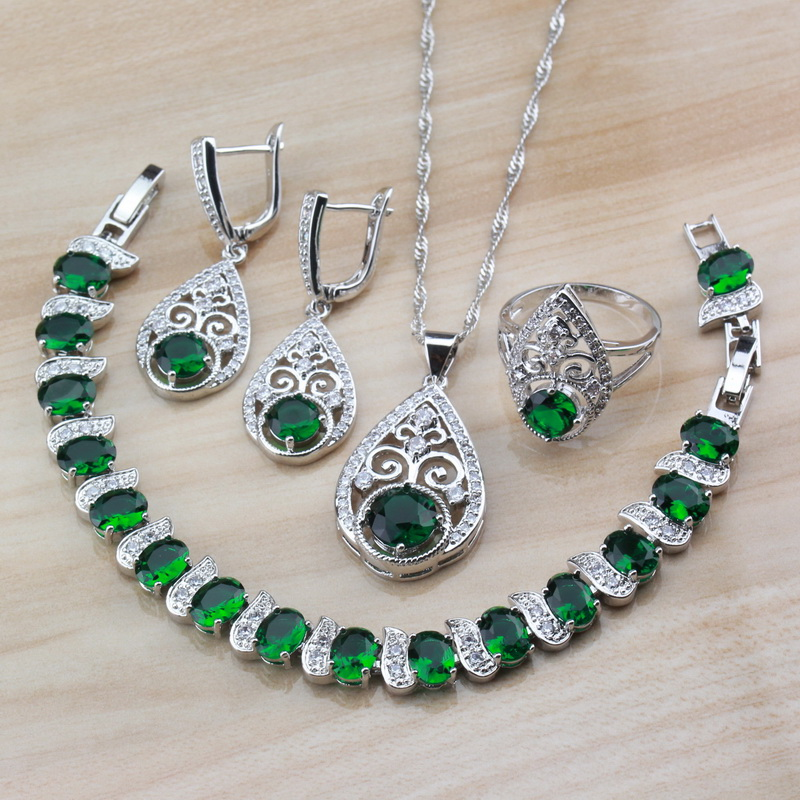 Jewelry-Sets Fashion-Sets Natural-Stone 925-Sterling-Silver Water-Drop Green Women New-Arrival