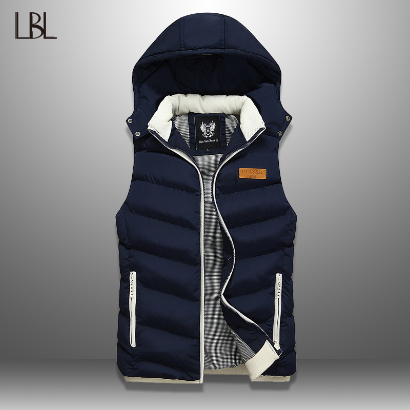 Winter Vest Hooded Men's Sleeveless Jackets Down Vest Casual Waistcoat Streetwear Top Men Overcoat Hat Detachable Vest Chalecos