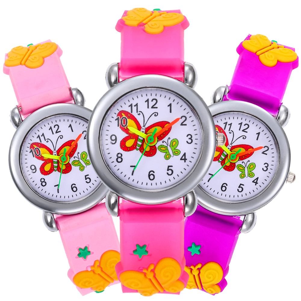 Casual Quartz WristWatch Gift For Girls Clock Fashion Cartoon Butterfly Kid Watch Children Watch Silicone Strap Kids Watches