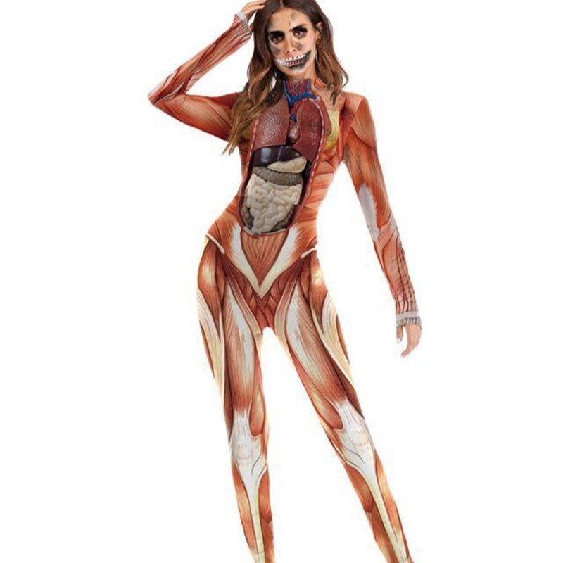 2020 Band Costume Halloween Night Performance Costume Party Human Body Printed One Piece Swimsuit Jumpsuit