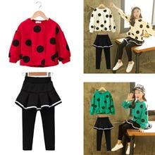 FAVSPORTS/ г.; комплекты одежды для девочек; Детские рубашки с длинными рукавами+ брюки; костюмы; осенне-зимняя детская одежда для маленьких девочек