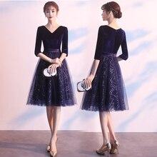2019 Prom Dress Navy Blue V-neck Shining Short Women Fashion Gala Gown Elegant  A-Line Ball Dresses E095