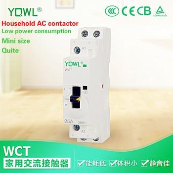 AC Contactor Modular With Manual Control Switch By DIN Rail Mount 2P 2NO 25A 220V/230V 50/60HZ For DIY Smart house Automation 1P 2p 25a 220v 230v 1no 1nc 50 60hz din rail household ac contactor
