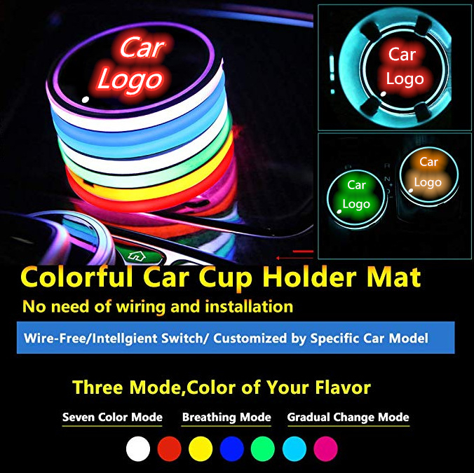 Car Logo Light LED Cup Drink 3X Holder Anti Slip For BMW Volkswagen Jaguar Maserati Ford Chevrolet KIA Mitsubishi Accessories