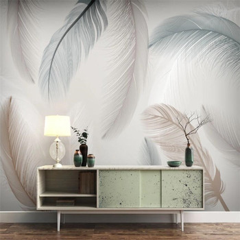 Custom small fresh modern creative hand painted flowers and birds feather TV background wallpaper mural small birds of a feather notebook
