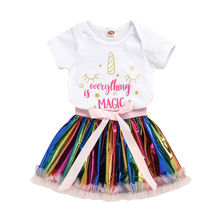 Baby Girl Clothes 0-24M Newborn Infant Kids Baby Girls Clothes Sets Short Sleeve Tops Romper Rainbow Lace Tutu Skirt 2pcs Set