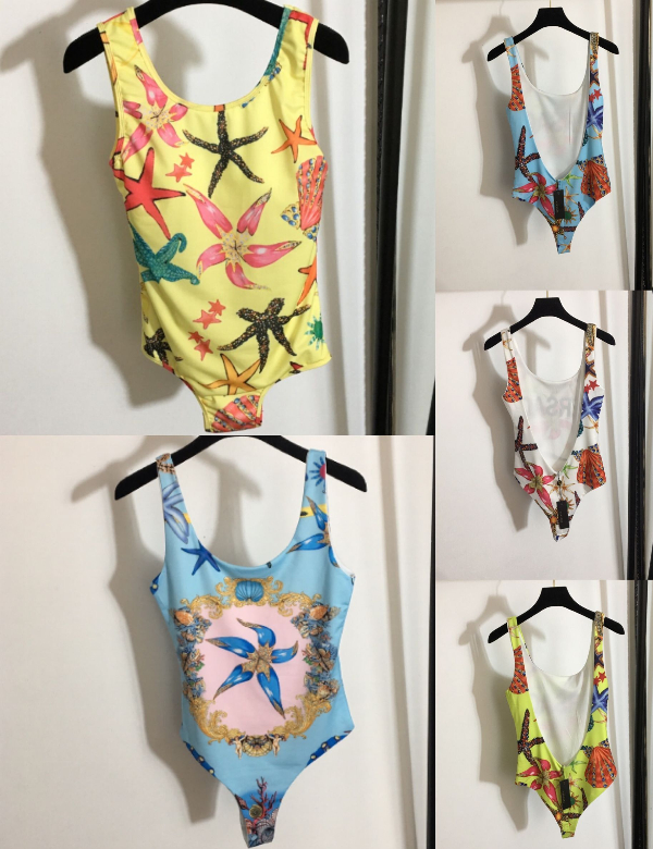 109800 Summer New Fashion Starfish Shell Printing Luxury Design Classic Pattern Sexy Backless Strap One Piece Swimsuit V2