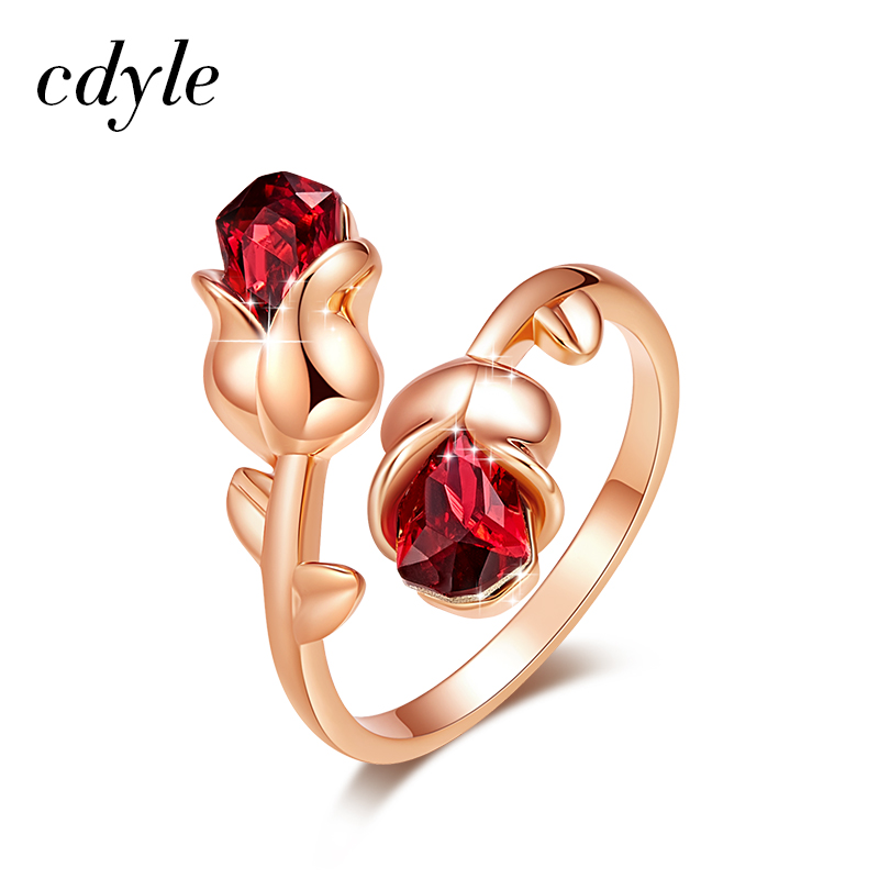 Cdyle Luxury Brand Jewellery Light Siam Crystals Rose Flower Adjustable Ring for Women Valentine Gift Free Shipping