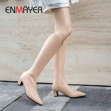 ENMAYER 2019 Winter Shoes Women PU Knee-High Slip-On Basic Pointed Toe Thigh High Boots Square Heels Winter Boots Women 34-43 цены онлайн