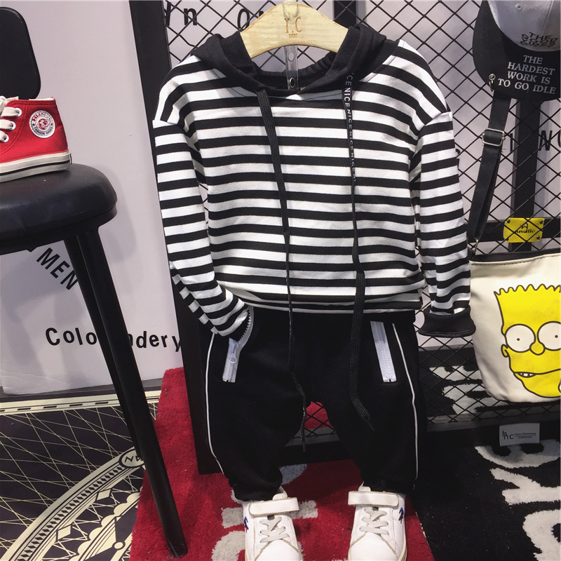 Children's Clothing Pants Sweater Hooded Autumn The-Striped Baby Fashion New Boy Suit