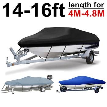 14ft 15ft 16ft 210D Rain Water Sun proof Boat Cover Trailerable Fish-Ski V-Hull Speedboat Boat Black Grey Blue 4M-4.8M D40