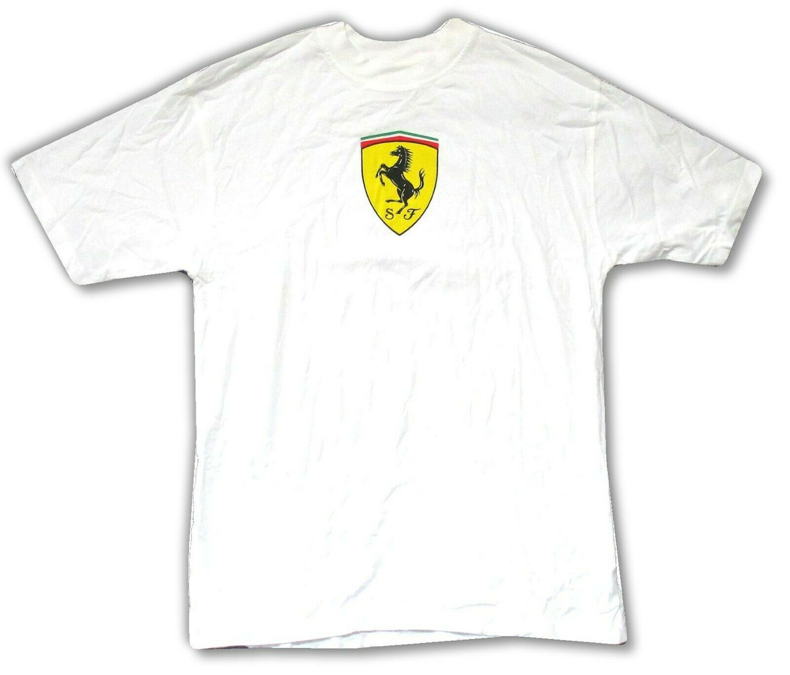 Ferrari Chest Logo Classic SF White Adult T Shirt Brand New Official Merch NWT