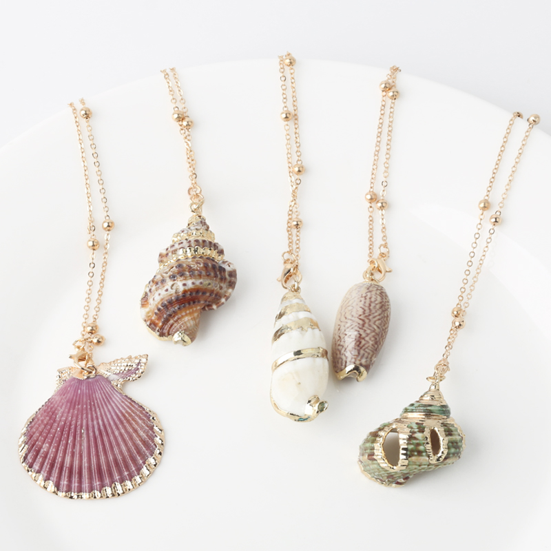 Boho Conch Shell Necklace Shell Gold Shell Chain Necklace Women Seashell Choker Necklace Pendants Jewelry Bohemian Female