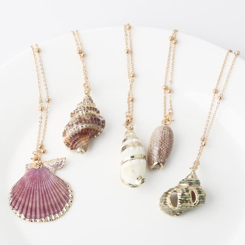 Boho Conch Shell Necklace Shell Gold Shell Chain Necklace Women Seashell Choker Necklace Pendants Jewelry Bohemian Female