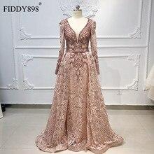 Luxo dubai vestidos de noite mangas compridas com decote em v sheer topo frisado vestido de baile 2020 cristal vestido de noite laço vestido de fiesta
