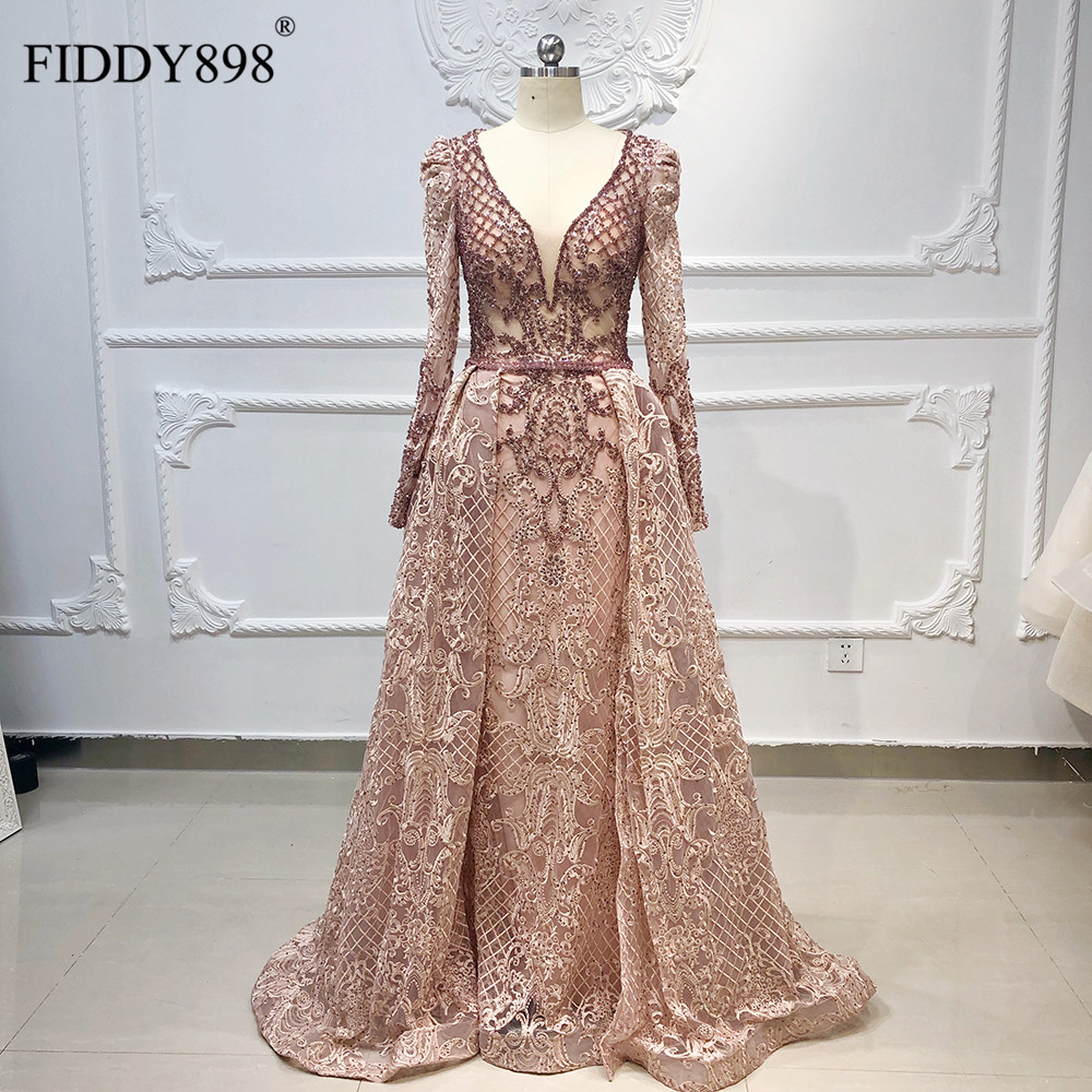 Luxury Dubai Evening Dresses Long Sleeves V Neck Sheer Top Beaded Prom Dress 2019 Crystal evening Gown Lace Vestido de FiestaEvening Dresses   -