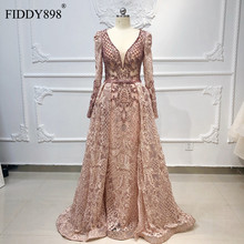 Luxury Dubai Evening Dresses Long Sleeves V Neck Sheer Top Beaded Prom Dress 2020 Crystal evening Gown Lace Vestido de Fiesta