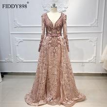 יוקרה דובאי ערב שמלות ארוך שרוולי V צוואר Sheer למעלה חרוזים שמלה לנשף 2020 קריסטל ערב שמלת תחרה Vestido דה פיאסטה