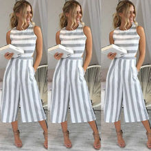 Women's Clubwear Playsuit Striped Loose Casual Party Jumpsuit & Romper Chiffon Long Trousers