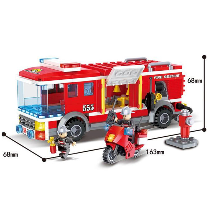 Models Building Kits 6555 284pcs City Fire Rescue Engine Truck Motorcycle Building Blocks Compatible with Legoinglys
