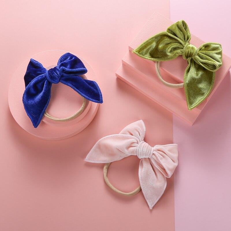 Повязка на голову с большим бантом, бархатная тонкая нейлоновая повязка на голову для девочек, двухслойные весенние аксессуары для волос дл...