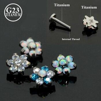 1 Pcs G23 Titanium Prong Set Fire Opal Ear Tragus Cartilagem Pregos Hélice Tragus Piercing Barbell Jóia Do Corpo Do Parafuso Prisioneiro Brinco