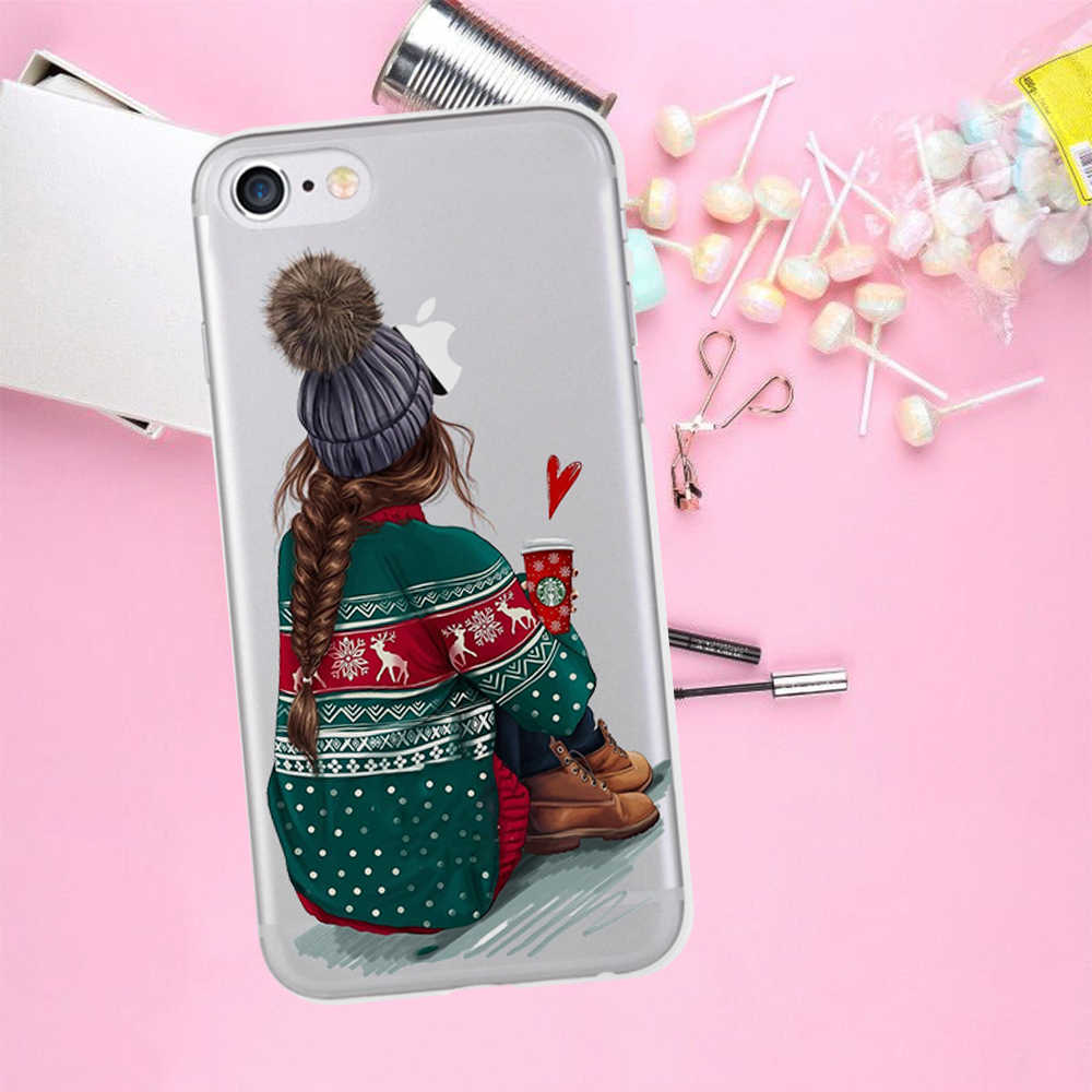 Funda trasera de móvil para chica de lujo para iPhone X XR XS Max 5 5S SE 6 6S 7 8 Plus funda para teléfono Funda para mujer