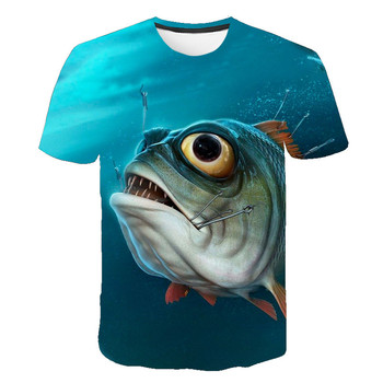 Summer 2020 new product short-sleeved round neck T-shirt 3D printed piranha graphic fashion personality T-shirt s-6xl children s clothing new summer 2020 fashion children s short sleeved t shirt